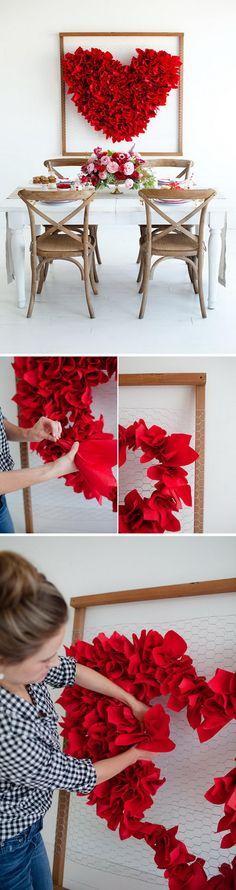 DIY Valentine's Day Heart Backdrop.