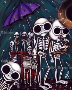 Skelly jazz funeral skeleton art day of the dead by gossamerfaery
