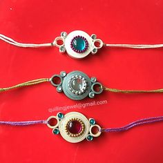 Simple quilling rakhi made for my dear brothers Diy Quilling Projects, Quilling Designs, Paper Quilling, Handmade Rakhi Designs, Handmade Design, Paper Jewelry, Jewelry Crafts, Friendship Belt, Quilling Rakhi