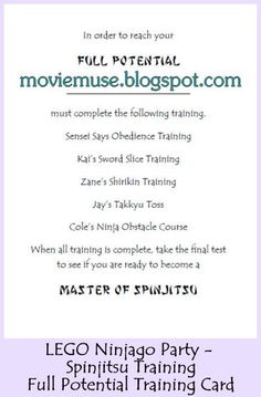 Movie Muse - Erin Expounds: LEGO Ninjago Party