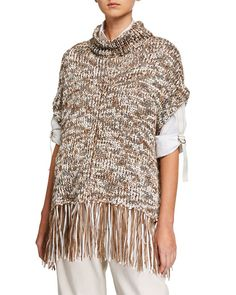 Brunello Cucinelli Dry Cotton Fringe Turtleneck Poncho and Matching Items Patagonia Vest Outfit, Casual Skirt Outfits, Silk Charmeuse, Brunello Cucinelli, Bergdorf Goodman, Cotton Pants, Ladies Dress Design, Crochet Clothes, Vintage Outfits