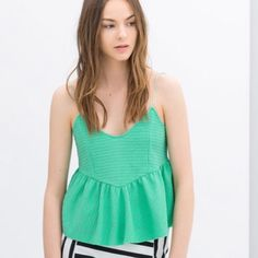 Zara TRF peplum top Mint green peplum top from Zara TRF collection Zara Tops Camisoles