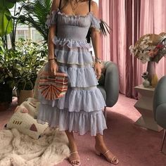 Pretty Outfits, Pretty Dresses, Cool Outfits, Fashion Outfits, Womens Fashion, Summer Outfits, Ruffle Dress, Dress Skirt, Romantic Outfit