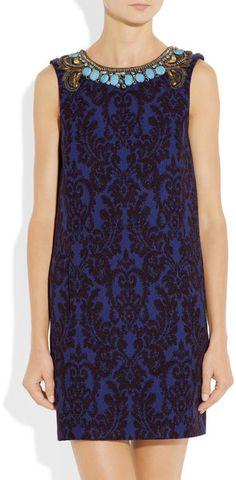 Matthew Williamson Embellished Jacquard Dress in Gold & Blue