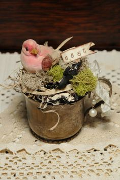 Bird Nest in a Vintage Silver Plate Baby Cup