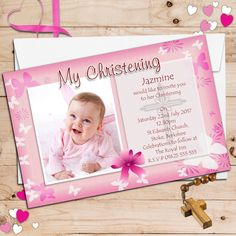 Birthday Invitation Card For Baby Girl. Do you want your invitation to look unique and interesting, but you do not know what to do? We have collected some of the latest Birthday Invitations as inspi… Christening Invitations Girl, Christening Favors, First Birthday Invitations, Photo Invitations, Birthday Invitation Templates, Invitation Cards, Baby Christening, Invitation Background, Card Birthday