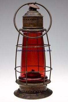 Antique Brass & Copper Red Glass Whale Oil Lantern