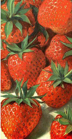 strawberries Strawberry Art, Strawberry Fields, Fruit Painting, China Painting, Strawberry Decorations, Watermelon Fruit, Still Life Art, Fruit Art, Wedding Art