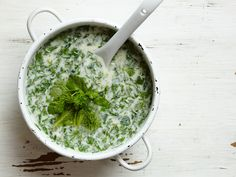 Cold Yogurt and Herb Soup with Chickpeas