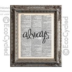 New to EcoCycled on Etsy: Always Inspirational Quote on Vintage Upcycled Dictionary Art Print Book Art Print Repurposed Recycled (10.00 USD)