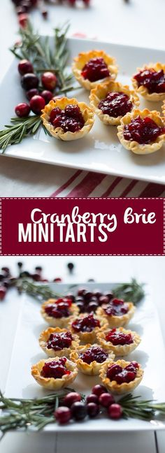 `Cranberry Brie Mini Tarts~ easy, ingredient appetizers are perfect for any holiday party. Buttery brie and sweet tart cranberry sauce in a crispy shell make adorable bite sized appetizers. and Briar Bite Size Appetizers, Appetizers For Party, Appetizer Recipes, Appetizer Ideas, Gourmet Appetizers, Dessert Recipes, Fall Recipes, Holiday Recipes, Christmas Recipes