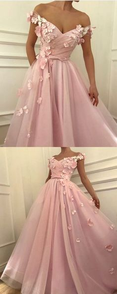 Pretty Pink Tulle Long Prom Dresses V-neck Off the Shoulder Evening Gowns with Flowers Beaded #2018PromDresses #PromDressesLace #LongPromDresses#PartyDress#EveningDress#dress#dresses#CheapPromDress#GraduationDress