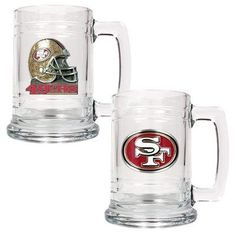NFL San Francisco 49ers Two Piece 15-Ounce Glass Tankard Set - Primary & Helmet Logo by Great American Products. $25.00. Decorated with hand-crafted Official Team Logos.. The perfect compliment to your Bar or Game Room décor.. Handcrafted  high-quality metal logo. Classically designed pair of 15oz Glass Mugs.