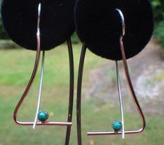 Silver & Rose Gold-filled Malachite Bead Dangle earrings  on Etsy, $35.00