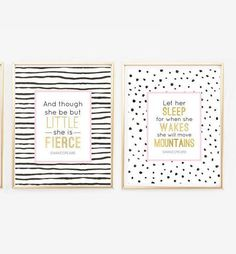 Let her sleep, And though she be but little, Shakespeare quotes, prints, nursery wall art, pink and gold, black white and pink