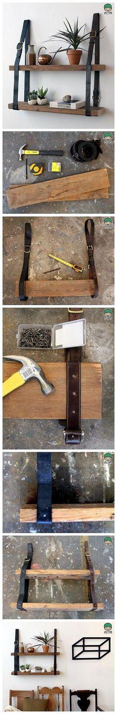 手工DIY 废物利用 环保 旧物利用—旧皮带制作置物架的方法图解