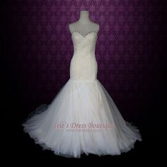 Strapless Sweetheart Mermaid Lace Wedding Dress with Soft by ieie