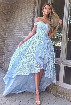 Lace Prom Dresses Off Shoulder Hi-low Evening Party Gown H3897 by Fashiondressy, $148.50 USD Blue Lace Prom Dress, Prom Dresses Blue, Dresses For Teens, Homecoming Dresses, Bridesmaid Dresses, Party Dresses, Dresses Dresses, Elegant Dresses, Fashion Dresses