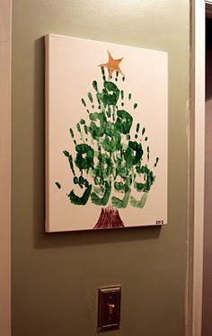 Kids hand print Christmas tree... I want to make this! Love this idea!