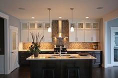white upper cabinets dark lower cabinets | ... Cabinetry Contest: Honorable Mention contemporary kitchen cabinets