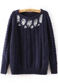 Navy Blue Plain Lace Pullover