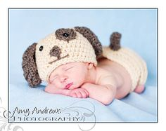 Crochet Puppy Hat and Diaper Cover Set
