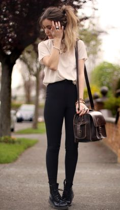High waisted. Simple black and white. Tucked in. Messy pony. Casual.