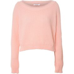 Light Pink Cropped Waffle Knit Jumper found on Polyvore featuring tops, sweaters, shirts, jumpers, pink, crop top, light pink shirt, pink long sleeve shirt, knit sweater and waffle shirt