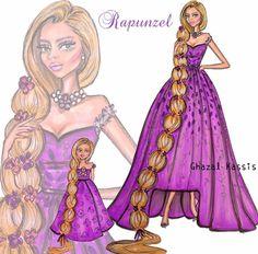 'Rapunzel and her little girl' by Ghazal Kassis Walt Disney Pixar, Disney Marvel, Disney And Dreamworks, Disney Fan Art, Disney Movies, Rapunzel Flynn, Disney Rapunzel, Disney Princesses, Hayden Williams