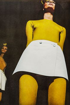 """Photographer Bill Silano vividly captured the mood of the hour in a fashion story in the May 1967 issue of Harper's Bazaar, with the caption """"The Leg Is the Look.""""   Miniskirts from a May 1967 story by Bill Silano."""