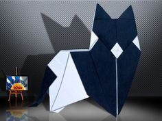Origami Cat (Katzen) by Peter Forcher  Designer: Peter Paul Forcher  Folder and Photo: @Origami_Kids  Complexity: Intermediate. Time to fold 30 min. 24 steps. Folded from a one Square origami black and white paper, about 20 cm x 20 cm. Diagrams in Origami by Peter Paul Forcher  Folding Instruction: http://origami-blog.origami-kids.com/origami-cat-katzen-by-peter-forcher.htm
