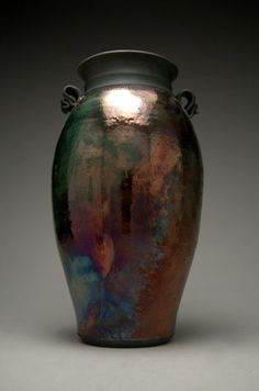 Large Raku Vase Raku Pottery Copper Vase Metallic by clayguyry