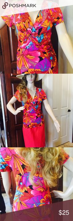 Colorful summer short sleeve V neck with a twist. Sexy , colorful Cable & Gauge size M. 97%viscose 3% spandex. Holds shape well. Cable & Gauge Tops