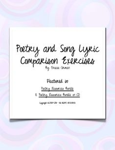 """Poetry & Song Lyrics Comparison Activity w/Key - I paired song lyrics with similar-themed poems, making it easier for students to """"get"""" the overall theme/meaning of poem."""