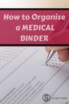 Learn how to prepare & organize a medical binder for your kids, spouse, parents, & yourself. Track pertinent information & keep all together. binder How to Organize a Medical Binder Planners, Family Emergency Binder, Household Binder, Binder Organization, Financial Organization, Household Organization, Home Management Binder, Medical Billing, Medical Information