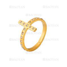 anillo de santa cruz brillante especial en acero dorado inoxidable para mujer -SSRGG161943