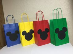 Mickey Mouse Goody Bags with handlesset of 12 Festa Mickey Baby, Mickey E Minie, Fiesta Mickey Mouse, Mickey Party, Mickey Mouse Clubhouse Party, Mickey Mouse Clubhouse Birthday, Mickey Mouse Birthday, Surfer Party, Miki Mouse