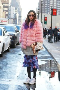 The Best Street Style from New York Fashion Week, Day 5: Irene Park Model  Pastels & Metallics