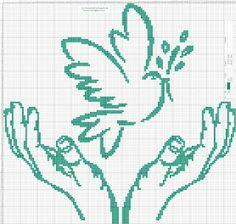 Dibujos Punto de Cruz Gratis: Manos Ave  Hands Bird - Cross Stitch Punto de cruz...