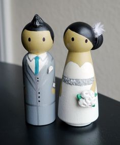 Wedding Wooden Peg Doll Cake Topper with 3D Accessories - Custom made & Personalized. $60.00, via Etsy.