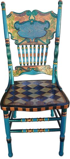 Hand Painted Chair by Nancy Woods - Gorgeous! And you can almost always find this style of chair if you search enough thrift stores &/or yard sales.