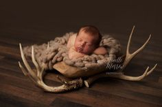Deer Antlers Newborn Jenelle Morrow Photography | Albany, KY Newborn Photographer