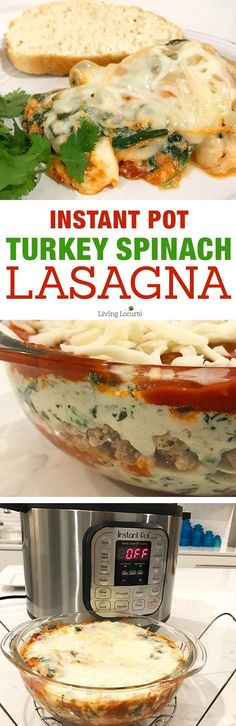 Instant Pot Lasagna is quick, easy and delicious! Try this healthy Turkey Spinach Lasagna recipe in your pressure cooker for a delicious dinner. (Pasta Recipes For Kids) Ground Turkey Dinners, Ground Turkey Recipes, Easy Pressure Cooker Recipes, Instant Pot Pressure Cooker, Pressure Cooking, Slow Cooker, Pasta Recipes, Dinner Recipes, Cooking Recipes