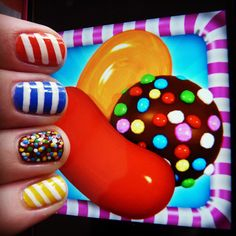 Candy Crush nail art by @Quirkynails Follow Quirkynails on Instagram for more Quirky designs.