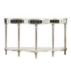 Hand Painted Distressed Metallic Mirrored Console Table