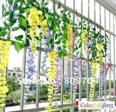 12pcs/lot Silk Wisteria Bush Artificial Flower Vine Garlands Decor Garden Plants ,3 colors, on AliExpress.com. 10% off $38.69