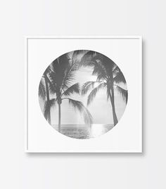 Black and White Photography Print, Palm Trees, Ocean, Sunset, Circle Print, Printable Art, Summer, Sparkling Ocean, Printable Wall Art
