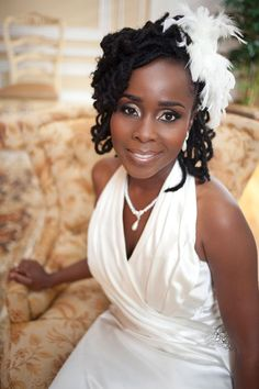 Natural hairstyle and great make up on bride.