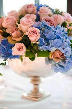 Pantone Colors of the Year: Rose Quartz & Serenity Wedding Inspiration Periwinkle Wedding, Wedding Colors, Wedding Flowers, Periwinkle Blue, Rose Wedding, Wedding Bouquet, Beautiful Flower Arrangements, Floral Arrangements, Rose Quartz Serenity