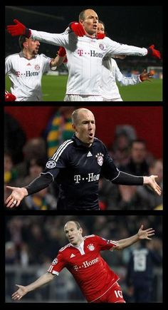 Arjen Robben playing for Bayern Munich.